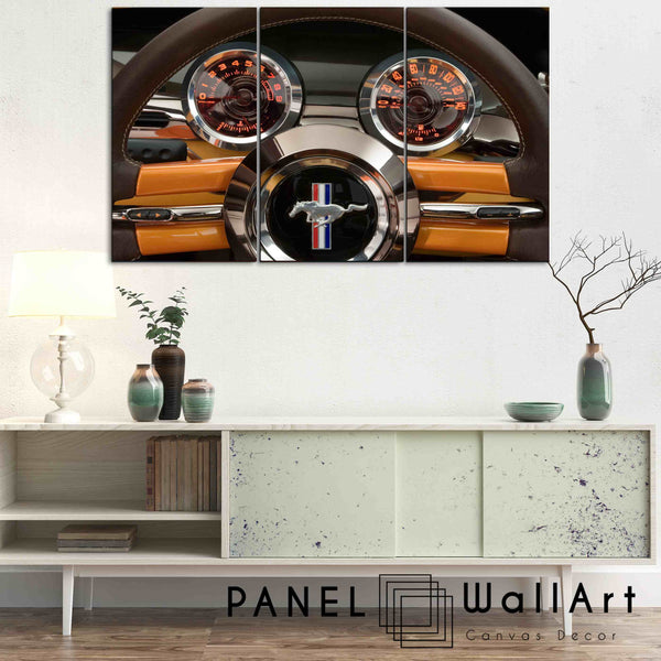 3 Panel Canvas Set - ford mustang steering wheel by PanelWallArt.com