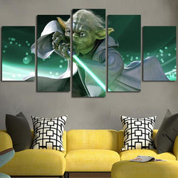 5 Panel Canvas Wall Art Of Master Yoda