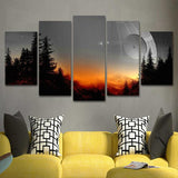 5 pieces Star wars death star |  5 Panel Wall Art Canvas Prints | panelwallart.com