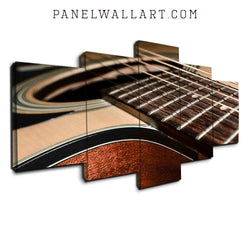5 panel canvas wall art wood brown guitar