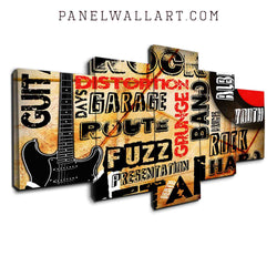 5 panel canvas wall art rock and roll typography design