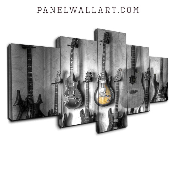 5 panel canvas wall art wood brown guitar and electronic guitars