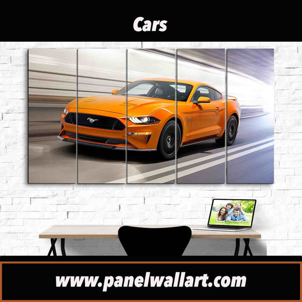 5 piece orange mustang ford framed canvas wall art