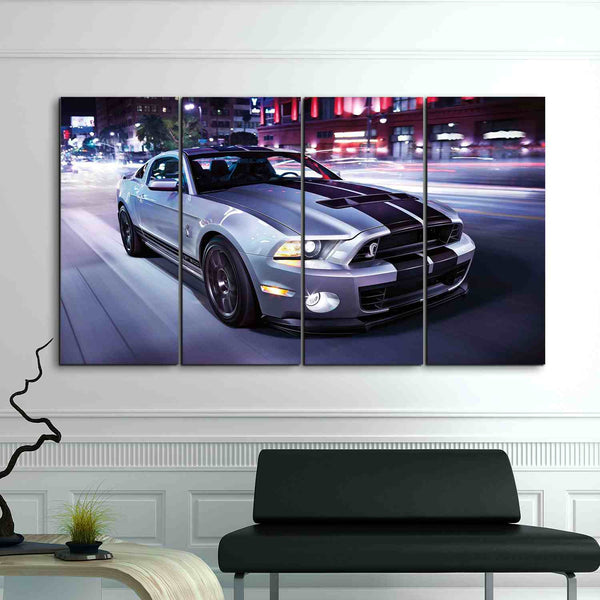 4 piece cool mustang ford framed canvas wall art