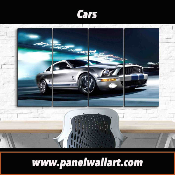 4 panel shiny blue and silver ford mustang framed canvas wall art