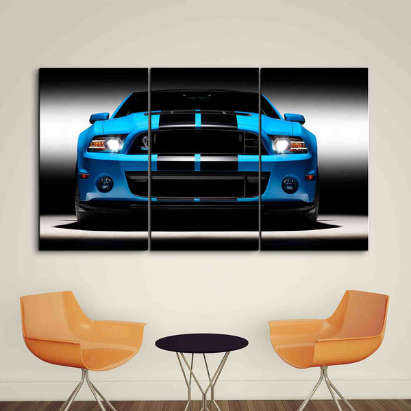 3 panel blue ford mustang framed canvas wall art