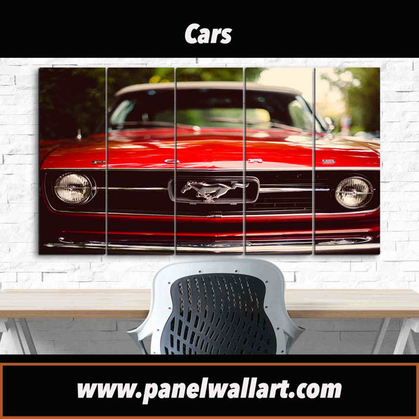 5 panel old red mustang vintage photo framed ready to hang canvas wall art