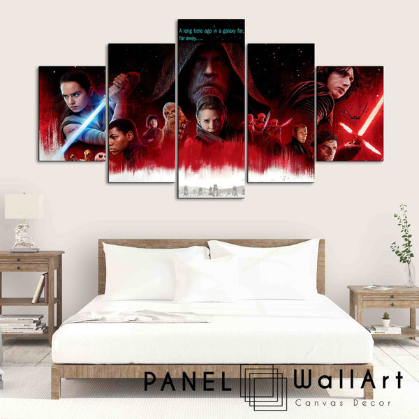 5 pieces star wars the last jedi kylo ren skywalker rey canvas wall art