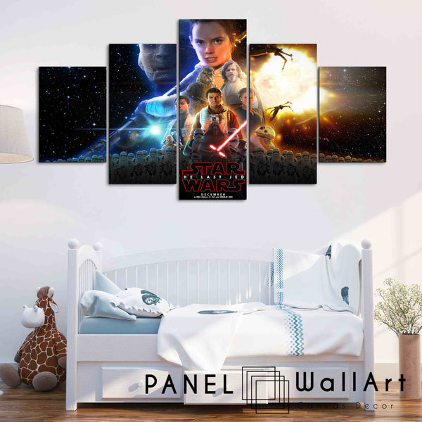 5 pieces star wars classic poster the last jedi canvas wall art