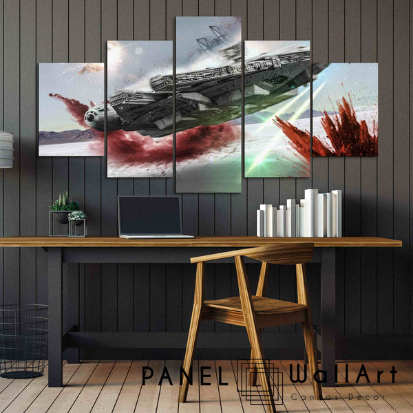 5 pieces star wars millennium falcon the last jedi canvas wall art panelwallart.com