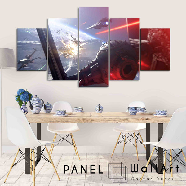 5 panel star wars canvas wall art the first battle in the last jedi