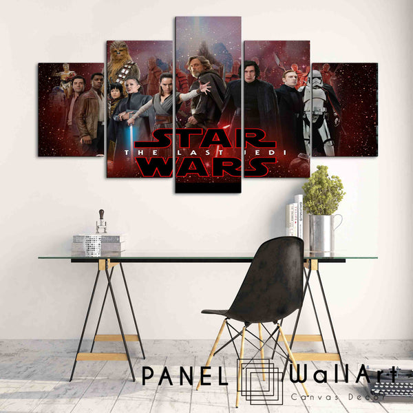 the last jedi 5 panel canvas wall art print - panelwallart.com