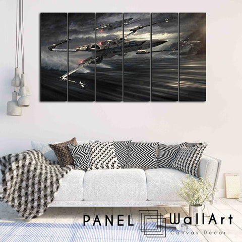 Star Wars Canvas Art | Panel Wall Art 6 panel exclusive design y wing x wing falcon