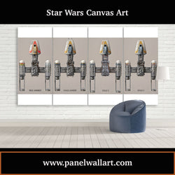 4 panel canvas wall art prints of Star Wars Y Wings Display