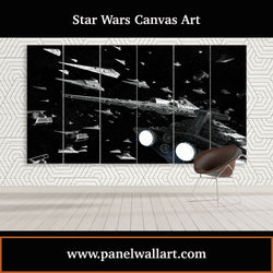 6 panel Star Wars canvas wall art of Destroyer flying in space battle