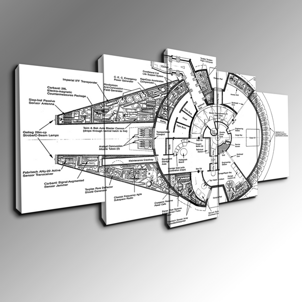5 panel Millennium Falcon Blueprint canvas wall art