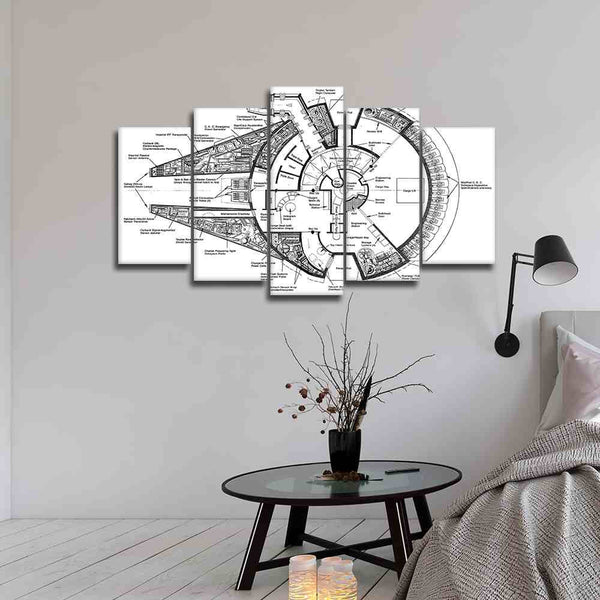 5 panel star wars aircraft blue print of millennium falcon canvas wall art
