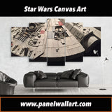 edge-of-millennium-falcon-star-wars-canvas-prints 5 pieces canvas wall art prints framed ready to hang free shipping