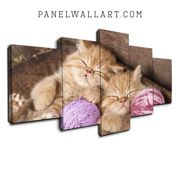 5 panel canvas wall art sleeping kitten lying on bed so cute