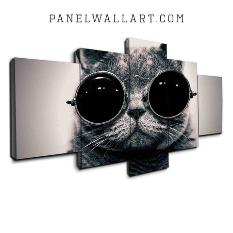 5 panel canvas wall art cool cat or kitten with glasses