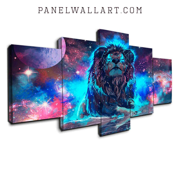 5 panel canvas wall art blue and purple lion modern graphic wall art panel