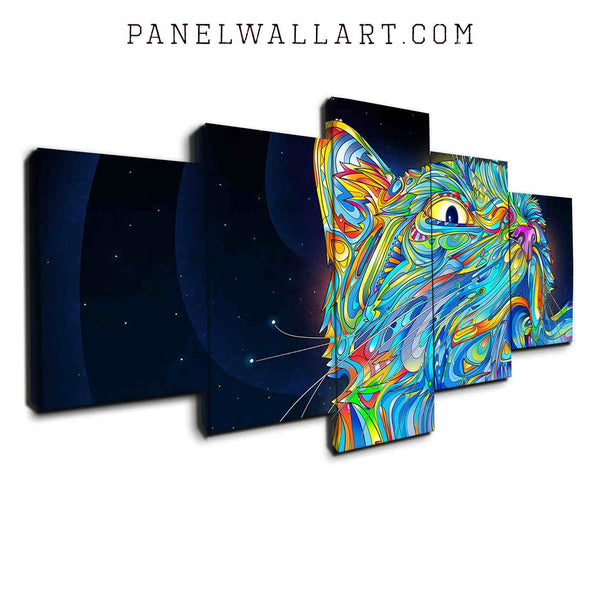 5 panel canvas wall art blue cat modern graphic wall art panel
