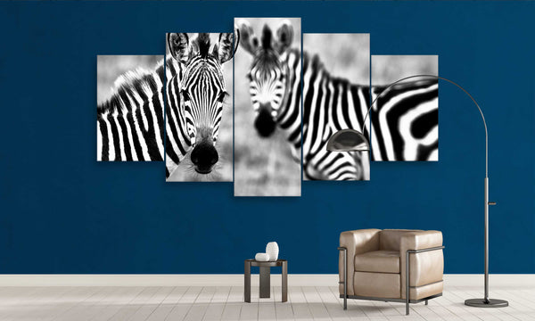 5 panel zebra animals couple canvas wall art decor for home