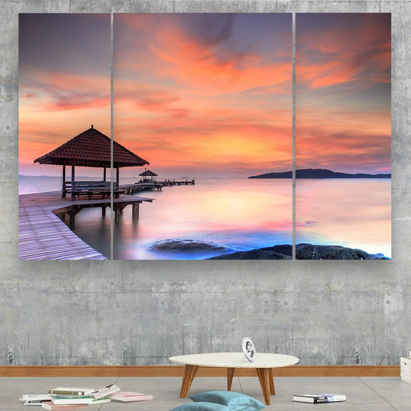 5 panel calm sea canvas wall art by panelwallart.com