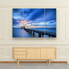 3 panel blue sky seascape canvas