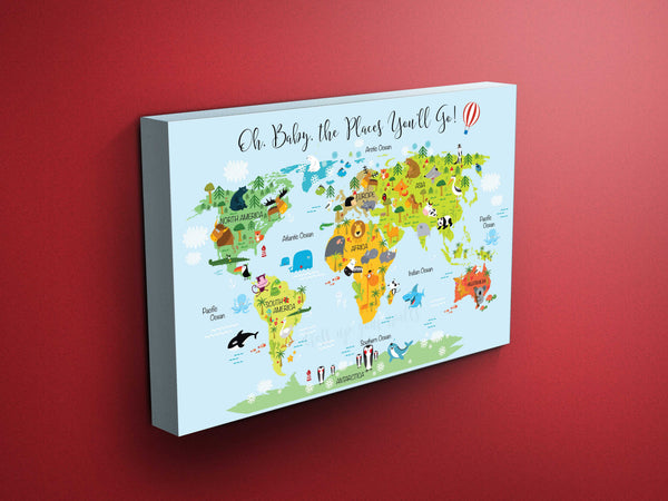 Nursery Animals World Map (Blue Background, Calligraphy)