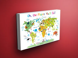 Nursery Animals World Map (White Background)