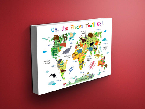 Nursery Animals World Map Canvas - Dr Seuss Quote