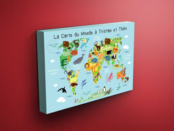 Nursery Animals World Map Canvas - Dr Seuss Quote (Blue)