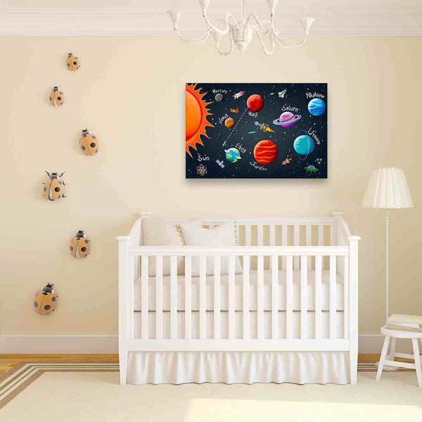 1 panel space wall art canvas for nursery decoration by panelwallart.com