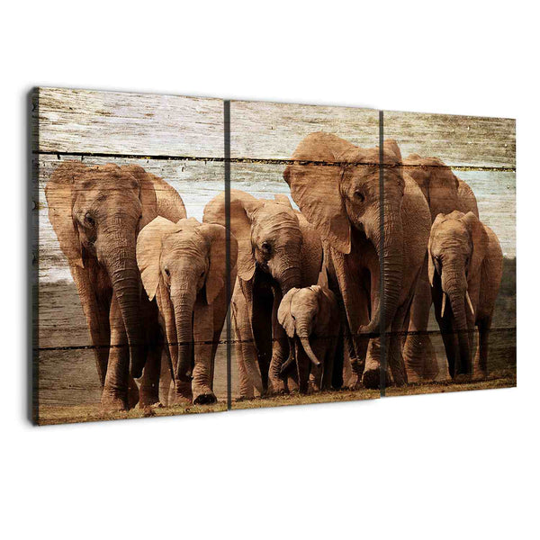 amazon.com 3 panel elephants wood canvas wall art by albyden art at panelwallart.com