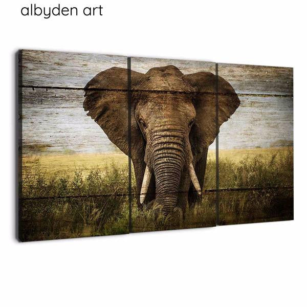 amazon.com 3 panel wall art elephants canvas wall wood art by albyden art at panelwallart.com