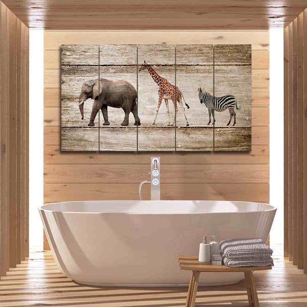 3 panel elephant canvas wall art print by panelwallart.com