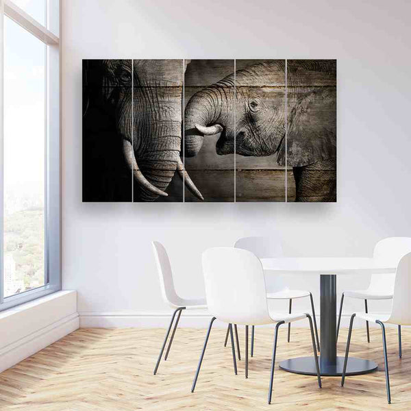 5 panel mommy and baby elephant canvas wall art framed
