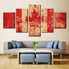 multi panel canada flag canvas wall art grunge print panelwallart.com