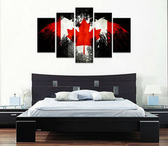 5 panel canada flag canvas wall art print with eagle in black background panelwallart.com