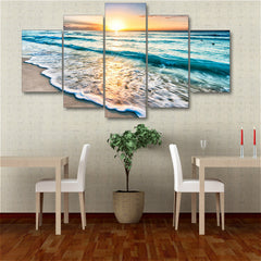 5 panel beach canvas wall art