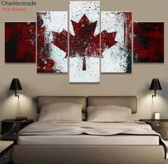 5 panels country flag of canada canvas wall art splash snow print panelwallart.com