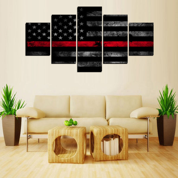 5 panel thin red line canvas flag wall art