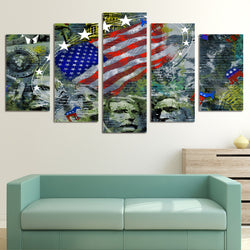 5 panel usa flag canvas wall art with mount rushmore presidents