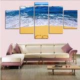 5-panel-sea-wave-at-beach-modern-home-wall-decor-canvas-art 5 pieces canvas wall art prints framed ready to hang free shipping