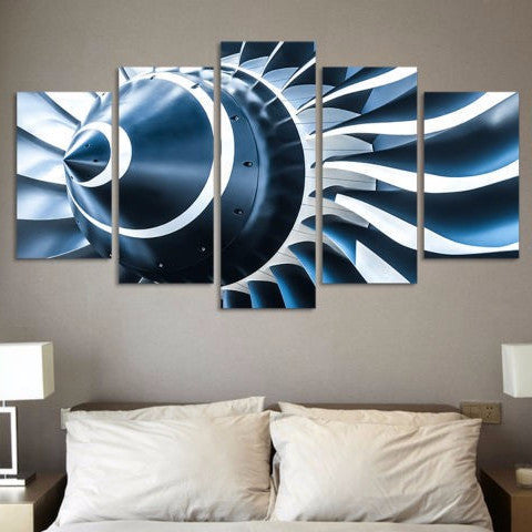 5 Panel Aircraft Engine Shaft Blades Wall Art by PanelWallArt