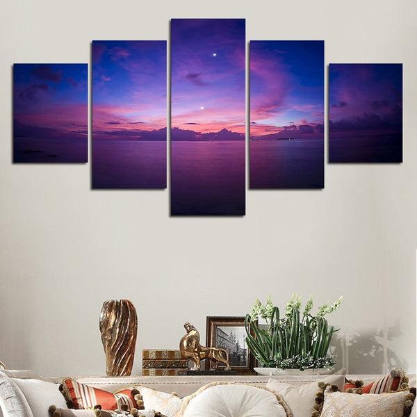 Purple Sunset over Ocean Skyline Panel Wall Art