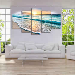 Sunset Beach and Waves Canvas Art
