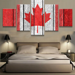 5 panel canada flag canvas wall art with wood texture