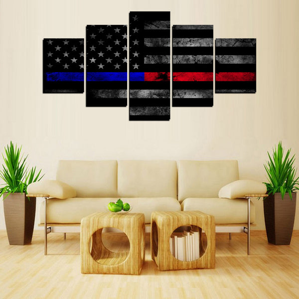 5 panel thin blue and red line canvas flag wall art